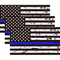 """3 Pack Reflective New Tattered Thin Blue Line US Flag Decal Stickers 