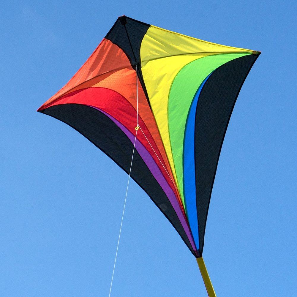 Cerf-volant monofil - Eddy XL Rainbow MUSTHAVE - pour enfants à partir de 6 ans - Dimensions : 90x100cm - incl. Ligne de 100m , queues multicolores Colours in Motion 138010