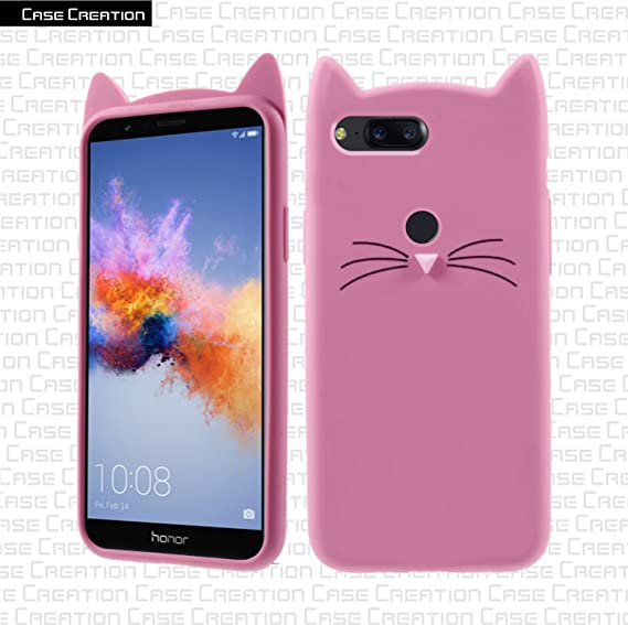 cheaper cf4ca bfc54 Case Creation Honor 7X Cat Covers,Cute 3D Mustache Cat Squishy Kitty Soft  Silicone Mobile Phone Cases Back Cover for Huawei Honor 7X - Pink Shade