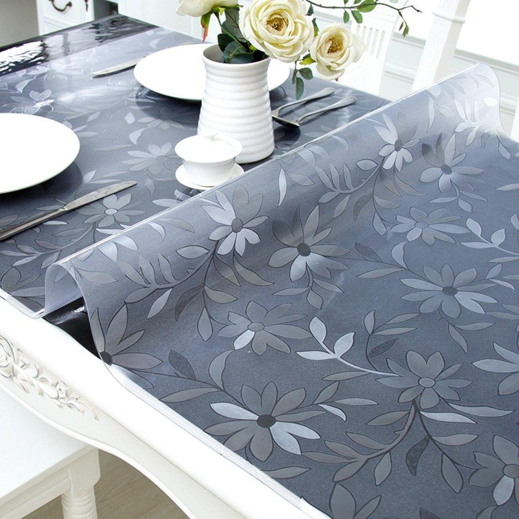柔らかいガラスのPVCテーブルクロス、防水性と耐油性の白い透明なパターンプラスチックテーブルマット、ホームコーヒーテーブルパッドクリスタルプレート(1.5mm) ( サイズ さいず : 90*180センチメートル ) 90*180センチメートル  B07C2LPH4K