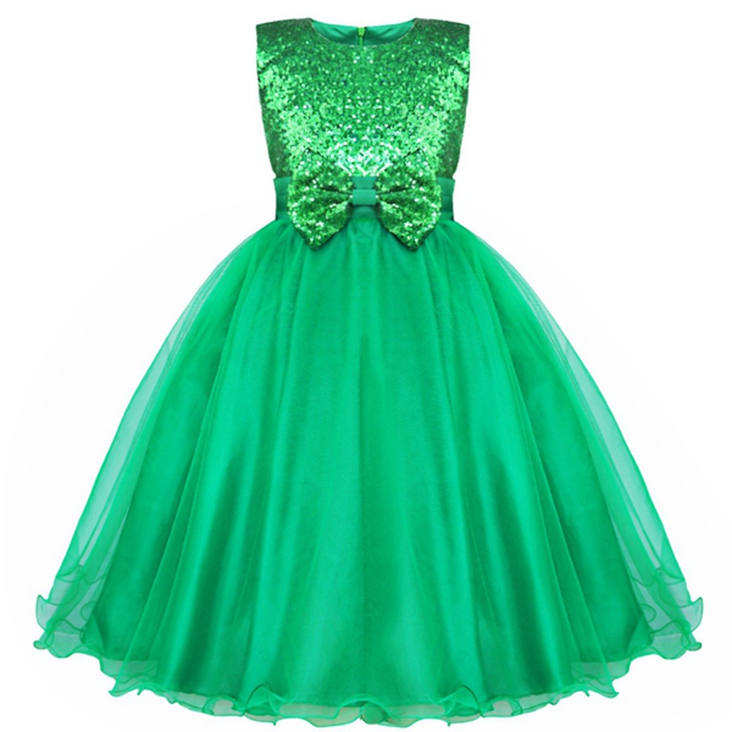 Flower Girl Dresses Bowknot Sequin Real Party Pageant Communion Dress Little Girls Kids Prom Gown for Wedding,Green,Child-12