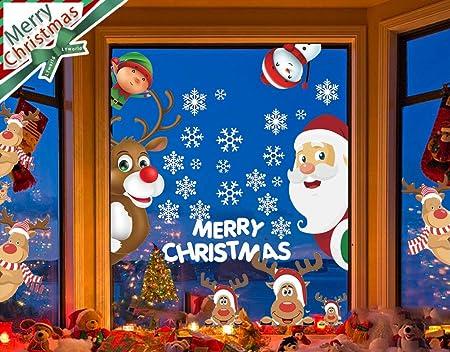 LYworld Natale Vetrofanie Rimovibile Adesivi Murali Fai da Te Finestra Atmosfera Natalizia Natale Vetrofanie Addobbi Natale Adesivi Anno Nuovo