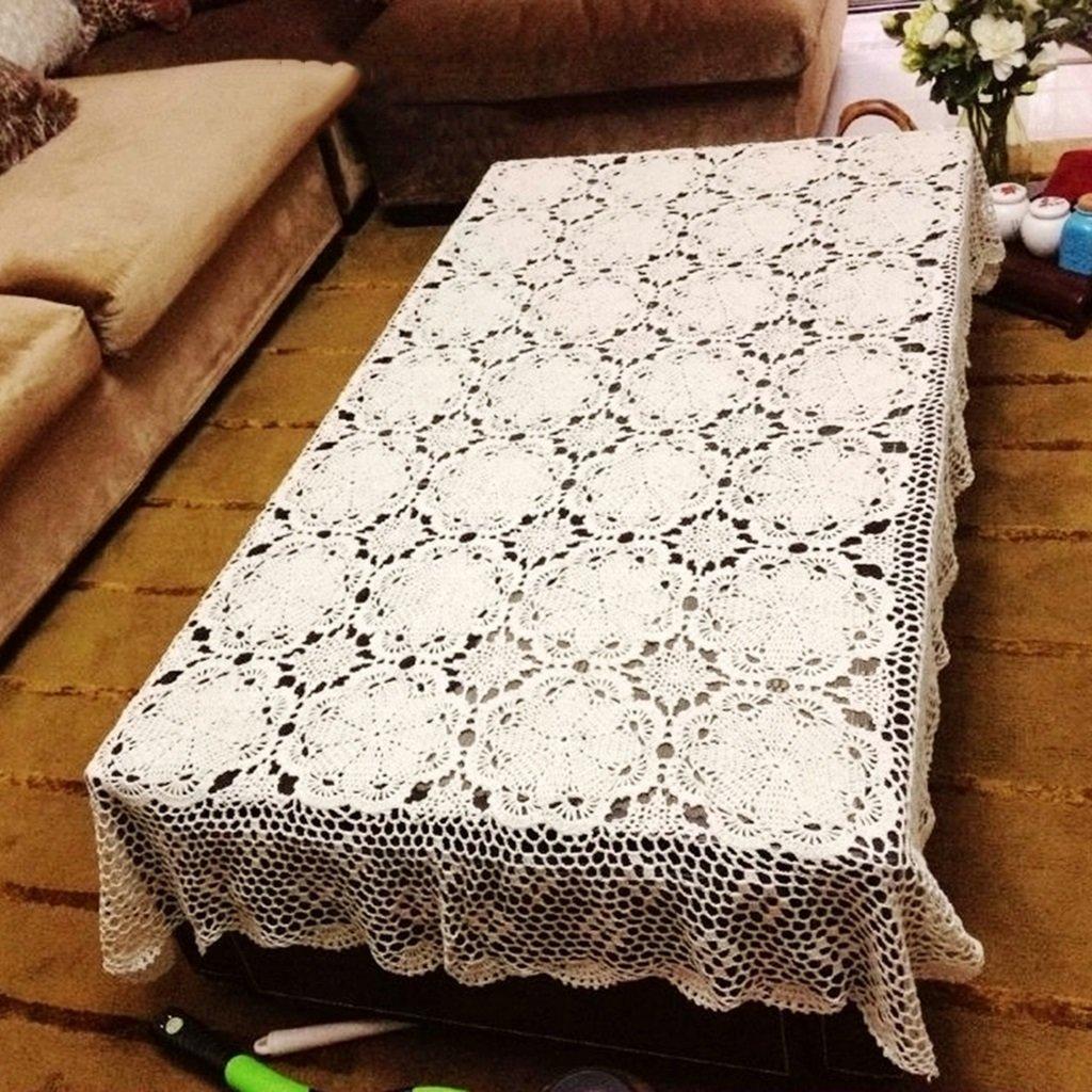 Blanc 150220cm linge de cuisine Tissu couvert de table de fleurs au Crochet fait à la main Tissu de table tissé creux en dentelle de coton Retro ( Couleur   Blanc , taille   100130cm )