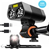 victagen Bike Light Bicycle Front Light,Super Bright 2400 Lumens with Free Tail Light/Rear Light,Waterproof Bicycle Headlight USB Rechargeable Type C, Easy to Mount Fits for Mountain,Kids,Road Bikes