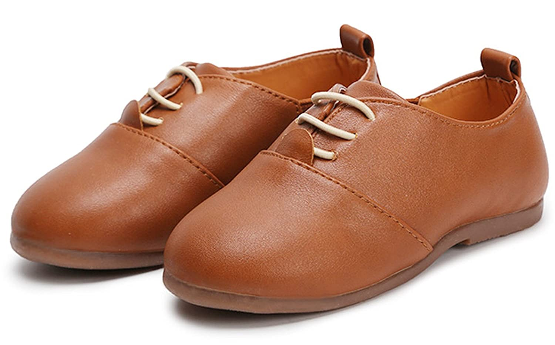 WUIWUIYU Baby Boys Girls British Oxford Casual Elastic Slip-on School Flat Loafer Leather Shoes /(Toddler, Little Kid/) K340099