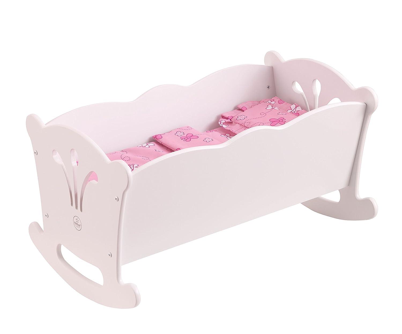 KidKraft 60101 Cuna mecedora de madera Lil' Doll para muñequitas de 45cm, muebles para dormitorio de niños con ropa de cuna incluida