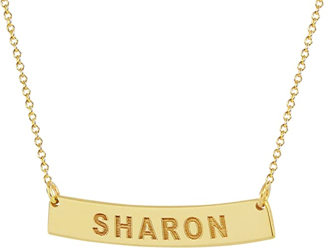 14K Yellow Gold Personalized Curved Name Necklace