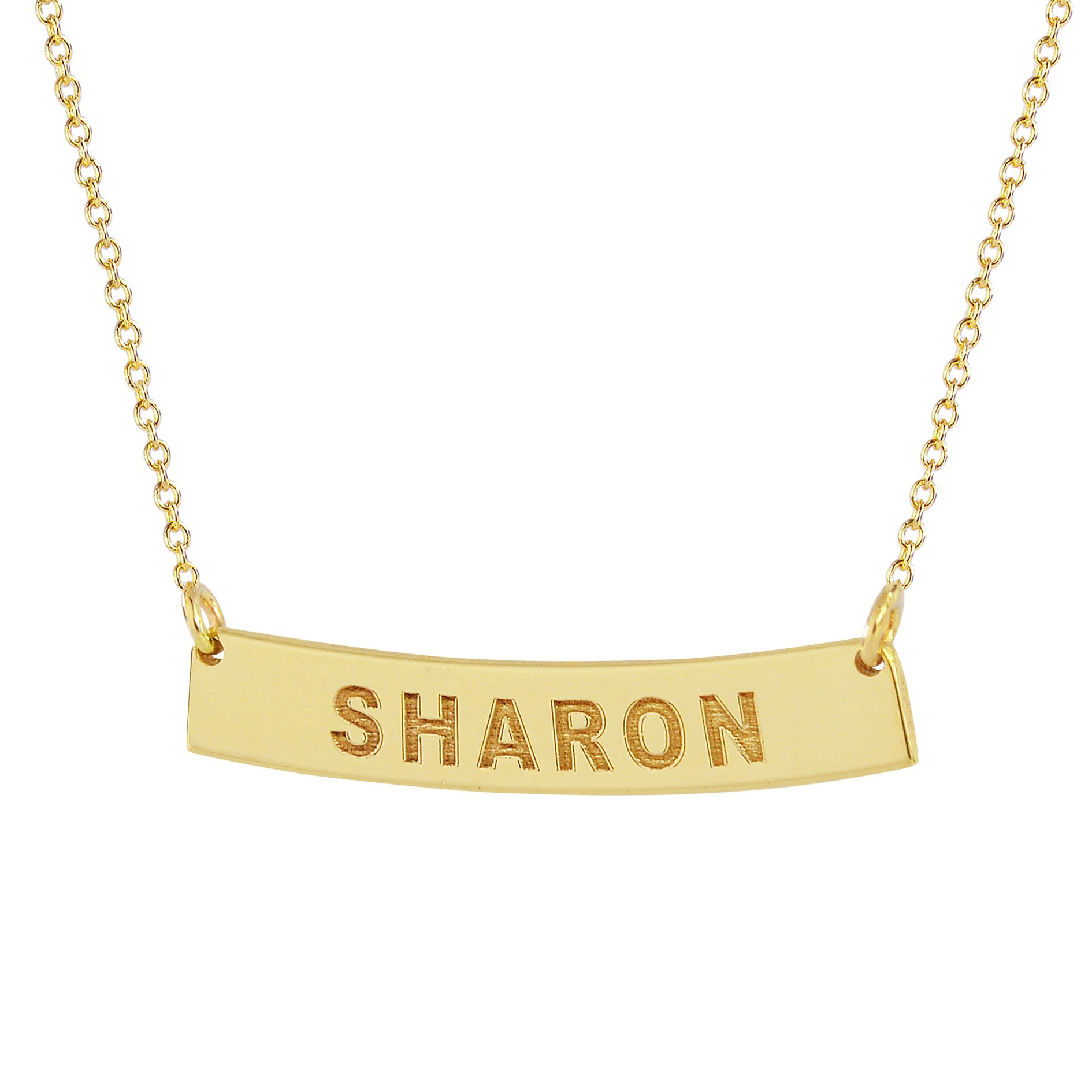 Minimal 7/8 inch Solid 10K Yellow Gold Small Tiny Horizontal Curved Bar Necklace Deep Laser Engraved Name. (18 Inches, yellow-gold)