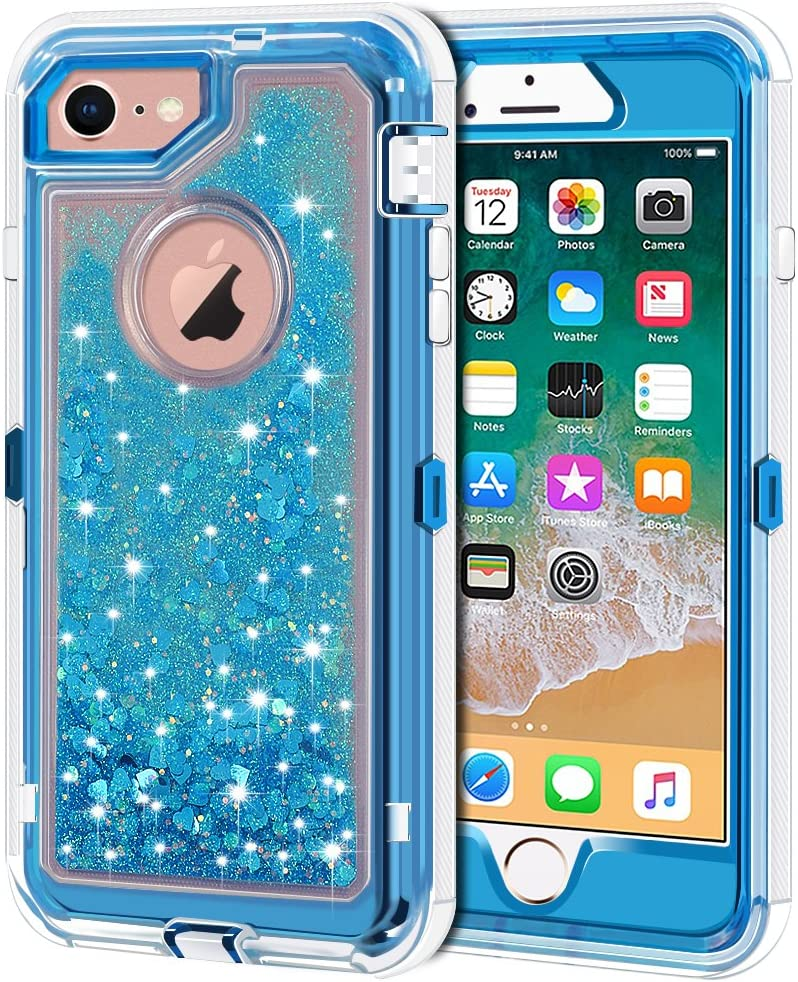 iPhone 8 Case, iPhone 7 Case, Anuck 3 in 1 Hybrid Heavy Duty Defender Case Sparkly Floating Liquid Glitter Protective Hard Shell Shockproof TPU Cover for Apple iPhone 7/ iPhone 8 4.7 inch - Blue