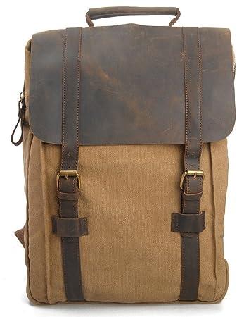 6e2ee53e3da4 Leaper Vintage Canvas Leather Backpack School Bag Travel Backpack Rucksack  Computer Laptop Bag Leisure style Bag Khaki