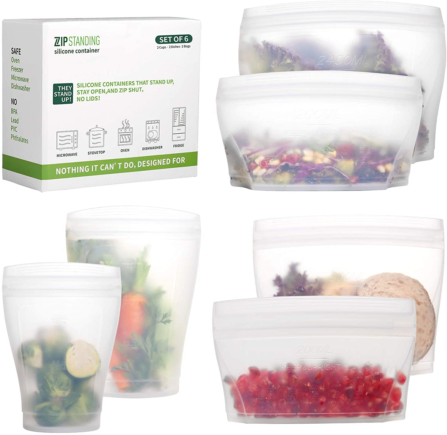 Zip Standing Reusable food Silicone Containers - Complete SET with 2 Cups, 2 Dishes, 2 Storage Bags. Larger Capacity, Dishwasher, Microwave, Freezer Safe. Healthy Food Grade.(white)