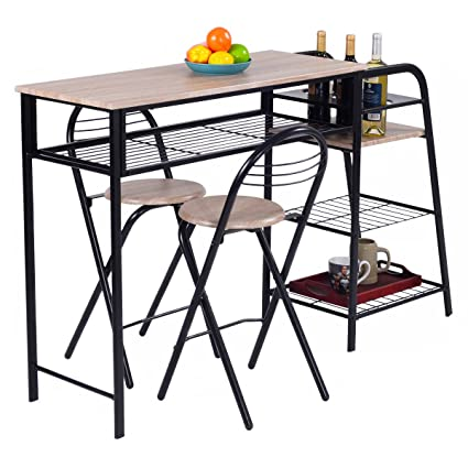 Amazon giantex 3 pc pub dining set table chairs counter height giantex 3 pc pub dining set table chairs counter height home breakfast wstorage shelves watchthetrailerfo
