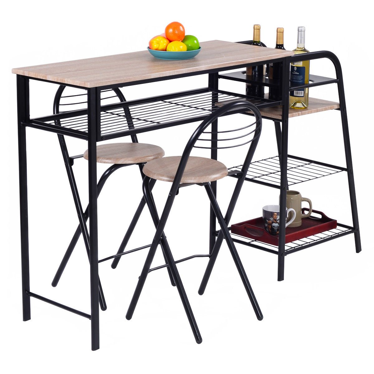 Giantex 3 PC Pub Dining Set Table Chairs Counter Height Home Breakfast w/Storage Shelves