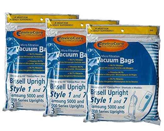 Image result for Bissell Envirocare Upright Style 1 and 7 Vacuum microfiltration bags