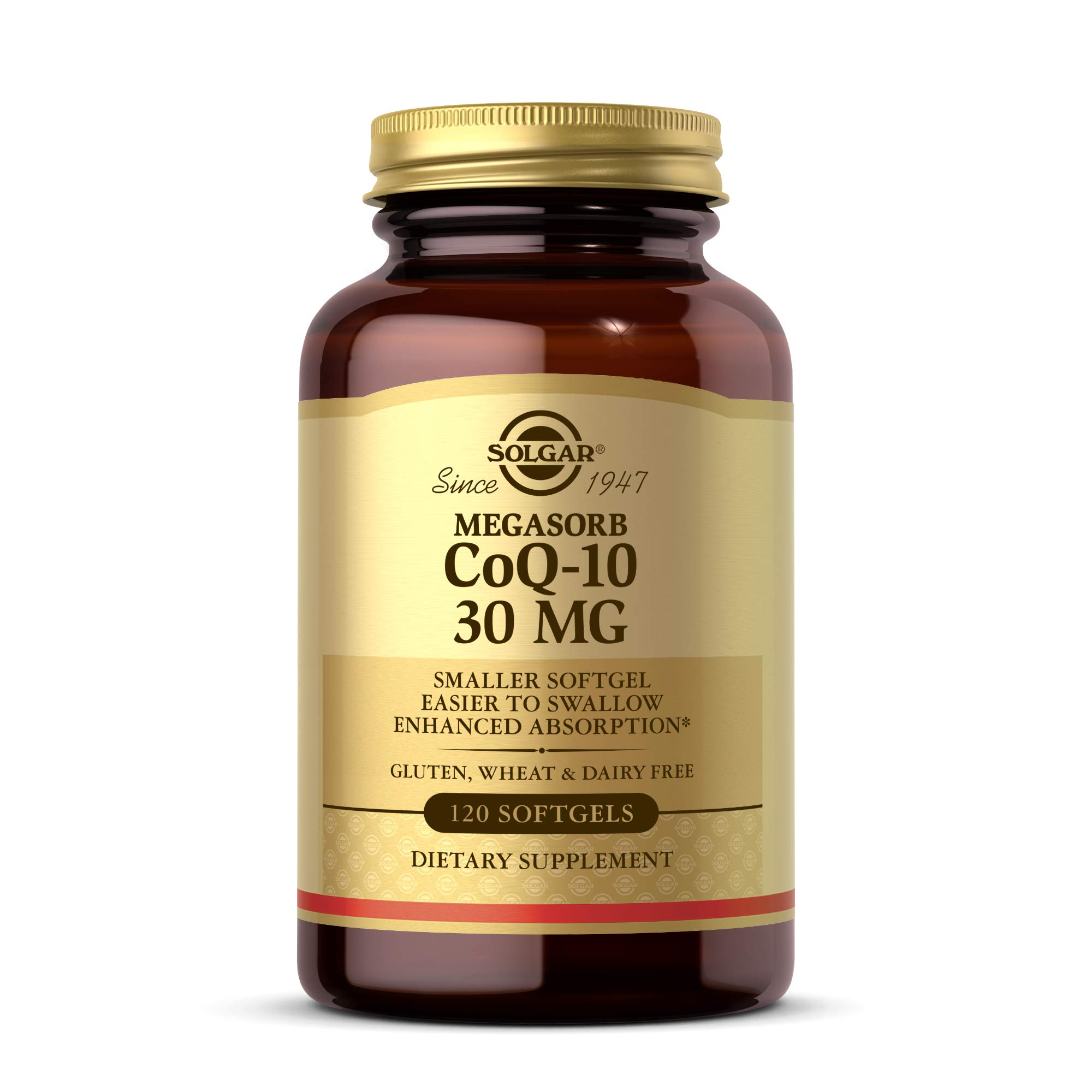 Solgar Megasorb CoQ-10 30 mg, 120 Softgels - Supports Heart Health, Brain Health & Energy Production - Coenzyme Q10 - Smaller Softgel, Easier to Swallow - Gluten Free, Dairy Free - 120 Servings