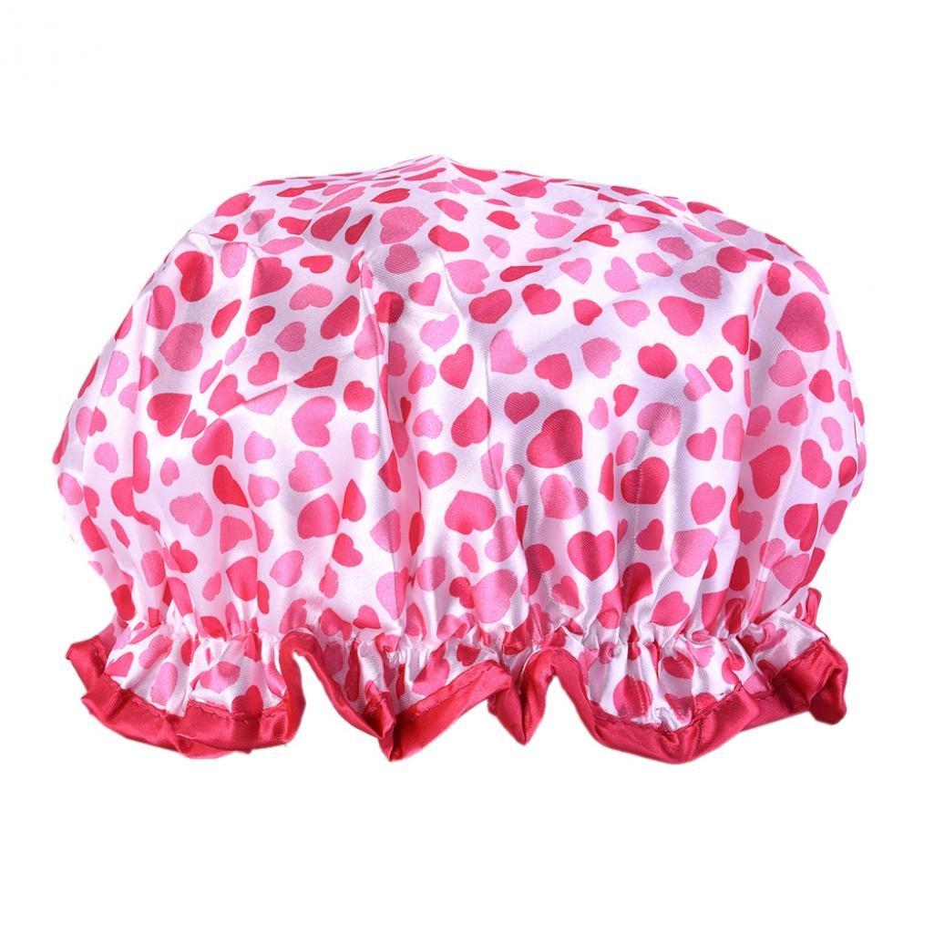 SoundsBeauty Waterproof Women Elastic Shower Bathing Salon Hair Cap Heart-shaped Printed Hat - Black