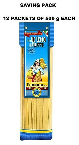 Pasta De Cecco Linea Gourmet - Fettuccelle - Paquete familiar con 12 paquetes de 500 g