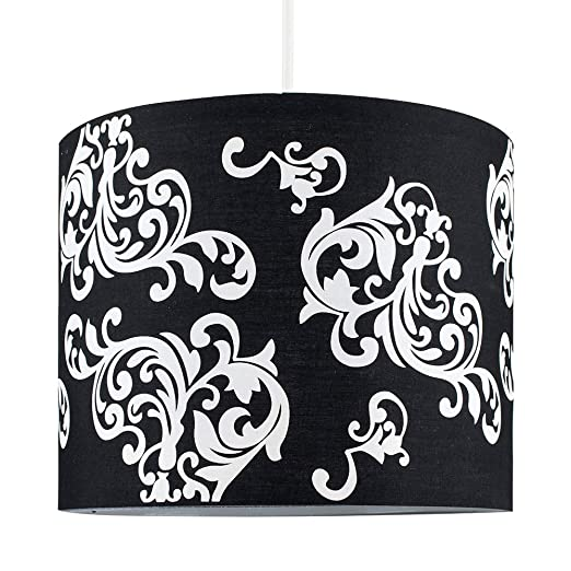 Self assembly modern decorative black and white damask floral self assembly modern decorative black and white damask floral pattern polycotton rolla cylinder ceiling pendant drum aloadofball Image collections