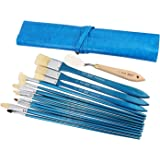 Bianyo 13 Piece Synthetic Paint Brush Set & 1 Palette Knife in Leather Wrap Carrying Case