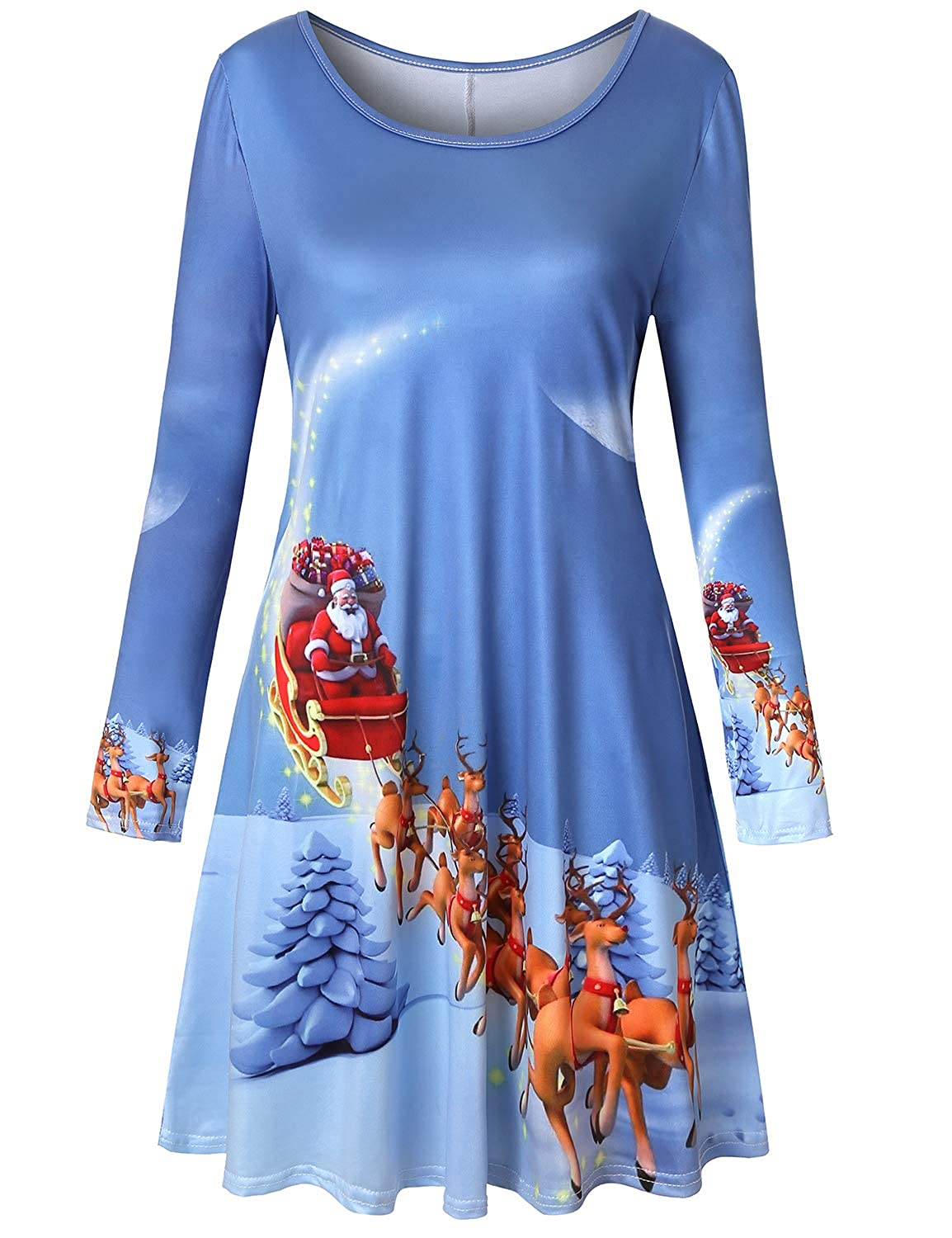 bluee2 Viracy Womens Christmas Dress Long Sleeve Flared Swing Tunic Dress