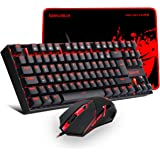 b101cfea930 Redragon Gaming Keyboard and Mouse PLUS Mouse Pad Combo K552-BA-UK RED RGB…