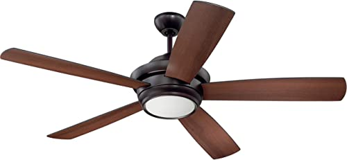 Craftmade TMP52OB5 Tempo Dual Mount 52 Ceiling Fan with 9 Watt LED Light and Remote Wall Control, 5 Plywood Blades, Bronze