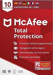 McAfee Total Protection 2021, 10 Dispositivos, 1 Año, Software Antivirus, Seguridad de Internet, Móvil, Control Parental, Compatible con PC/Mac/Android/iOS, Edición Europea, Código por Correo