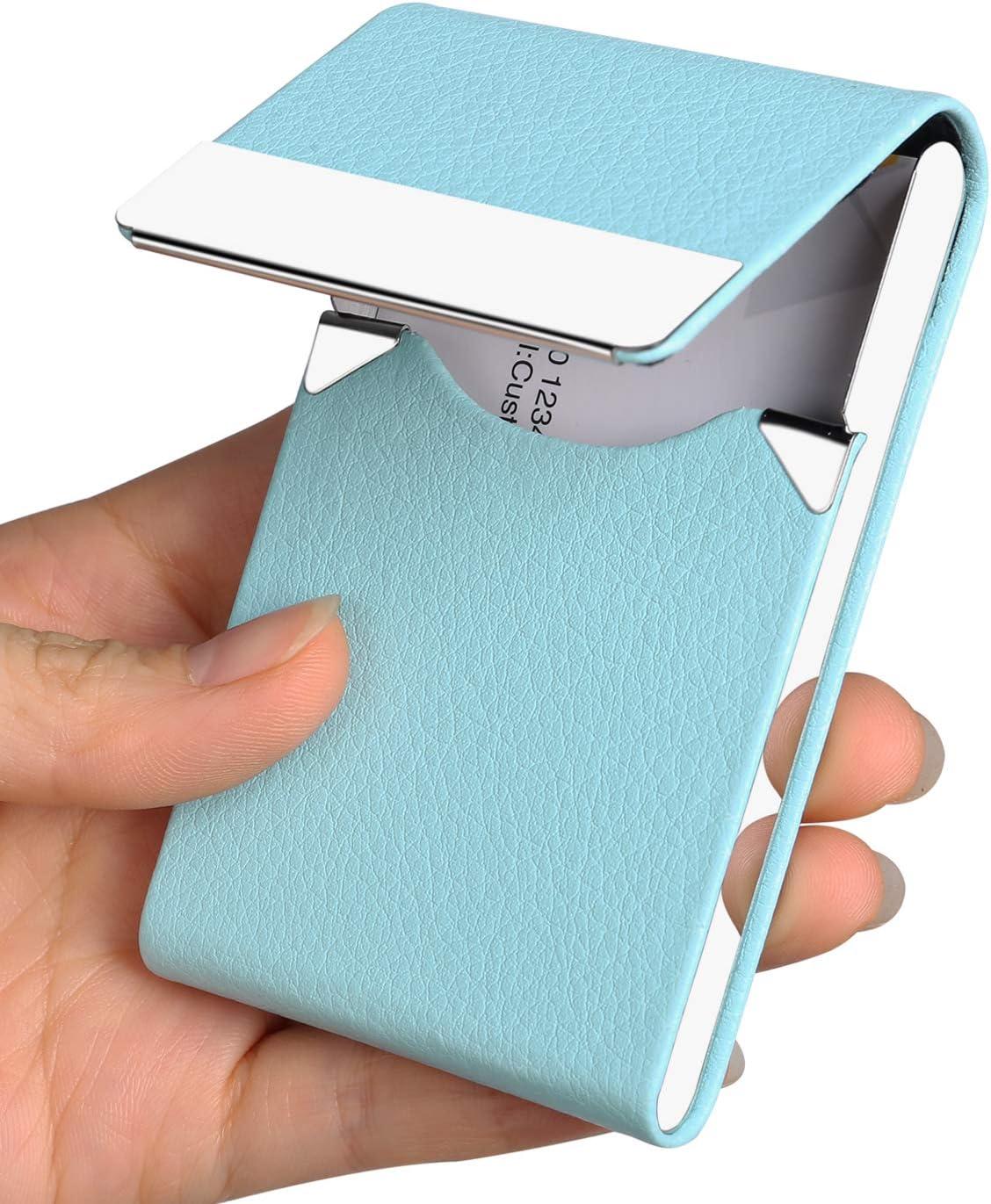 Business Card Holder Case - JuneLsy Professional PU Leather Business Card Case Metal Name Card Holder Pocket Business Card Carrier for Men & Women with Magnetic Shut (Light Blue-y)