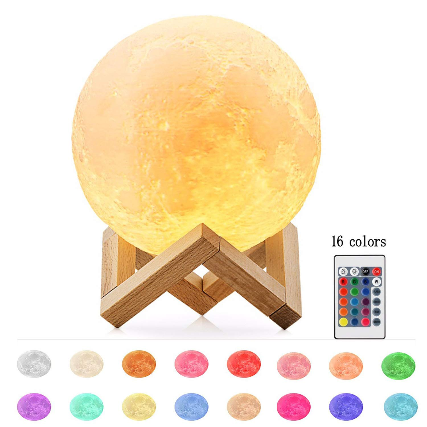 Moon Lamp 16 Colors 3D Printing, Yooker Remote Control & Touch Sensor Night Light LED Lunar Lamp with Stand, Remote & USB Cable(5.9inch) for Kids/Birthday /Anniversary/Christmas Gifts