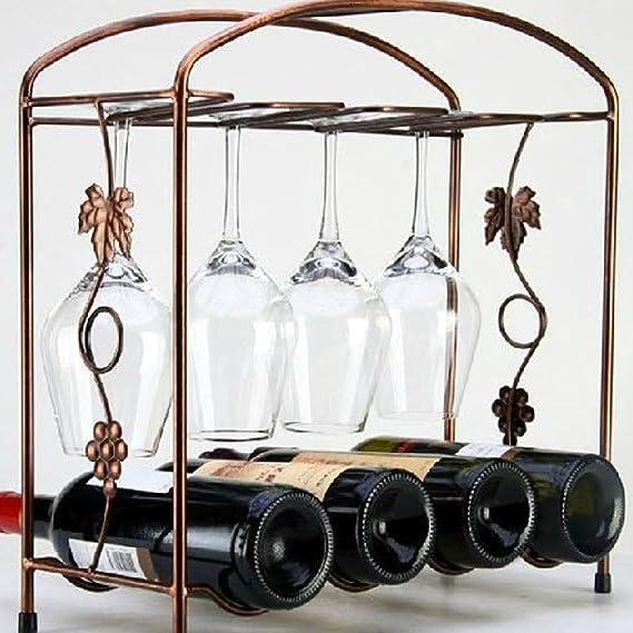 Amazon.com: eDealMax mesa 4 botella de vino titular Fila 4 Vidrio del asimiento de almacenamiento en rack Organizador tono de cobre: Kitchen & Dining