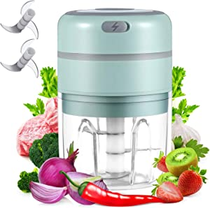 digi marker Electric Garlic Chopper Mini Food Slicer Portable Garlic Mincer Press, Wireless Food Processor For Garlic Pepper Chili Onion Celery Ginger Meat With Brush And 1 Extra Blade (250ML)