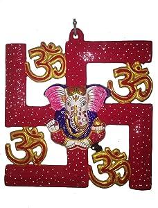 BRK HANDICRAFT Ganesha Om swastika Wall Hanging Statue Metal Hand Painted Sculpture for Home Decor Decal for Vastu Entrance Door Decorative Religious Spiritual Return Gift for mom dad (22X23 cm)