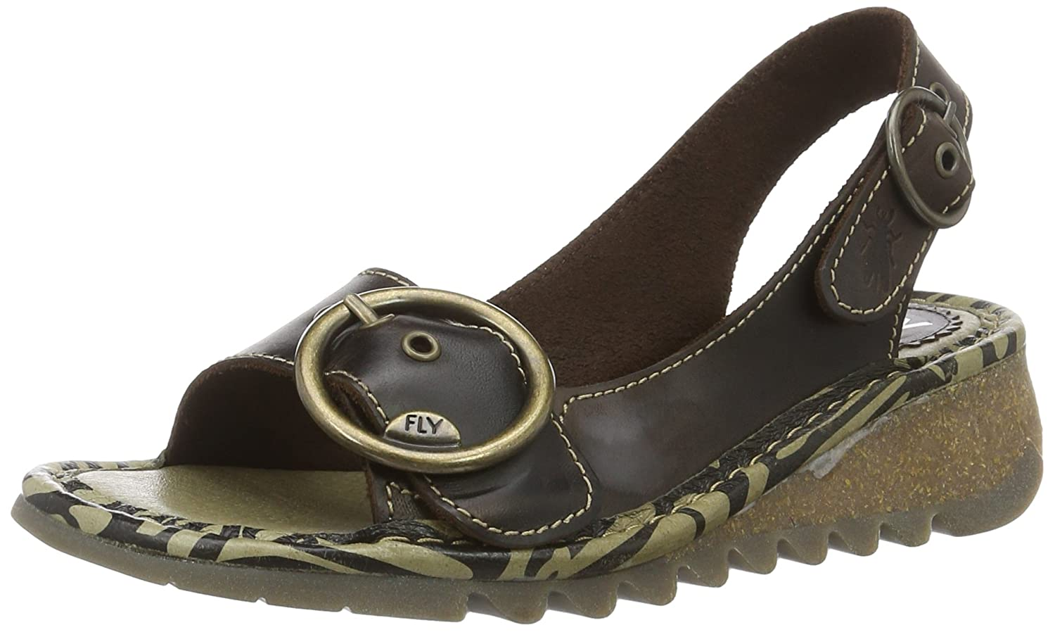 FLY London Women's Tram723fly Wedge Sandal B01LZSXWG1 40 M EU|Dark Brown