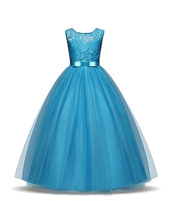 Amazon.com: ZerYoYus Little Girls Lace Princess Dress Evening Floor ...