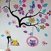 Songmics FWT009 Sticker mural pour chambre denfant Motif arbre avec hiboux et oiseaux Multicolore