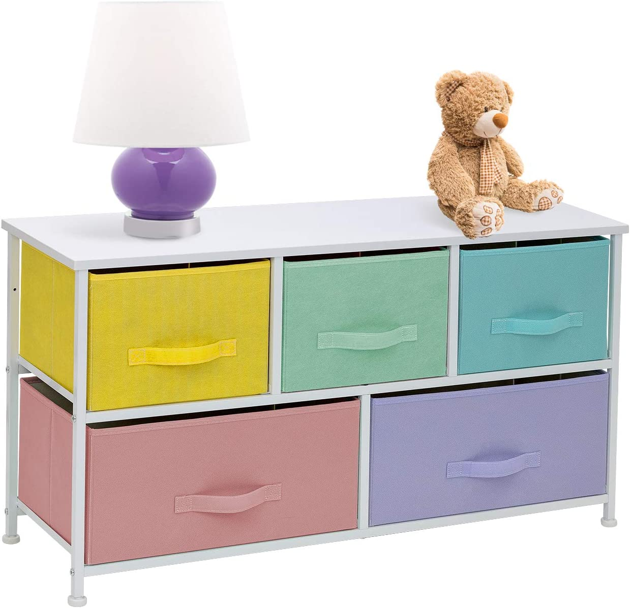 Sorbus Dresser with 5 Drawers – Furniture Storage Chest for Kid s, Teens, Bedroom, Nursery, Playroom, Clothes, Toys – Steel Frame, Wood Top, Fabric Bins Multi Pastel White