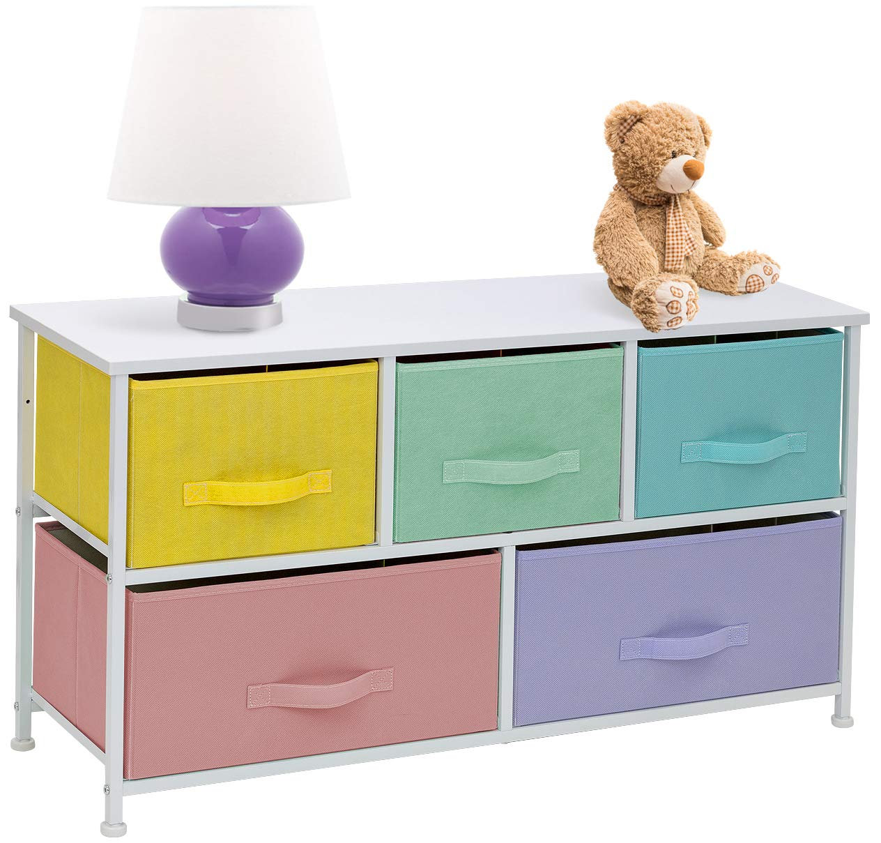 Sorbus Dresser with 5 Drawers Furniture Storage Tower Chest for Kid s, Teens, Bedroom, Nursery,Steel Frame, Wood Top, Easy Pull Fabric Bins, Pastel White