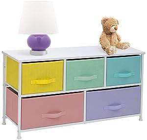 Sorbus Dresser with 5 Drawers Furniture Storage Tower Chest for Kid's, Teens, Bedroom, Nursery,Steel Frame, Wood Top, Easy Pull Fabric Bins (Pastel)
