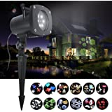 LED Projector Light, Hosyo Motion Landscape Holidays Lights Projector LED Spotlights 120V Waterproof With 12pcs Switchable Pattern For Christmas Halloween Holiday Home Decoration Wall
