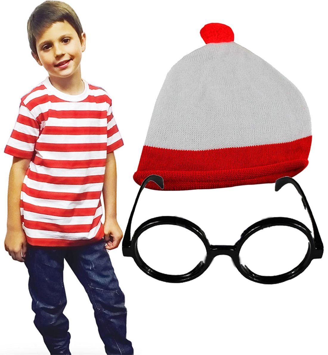 MA ONLINE Kids Knitted Hat Glasses Red and White T-Shirt Childrens Fancy Dress Accessory 7-8 Years