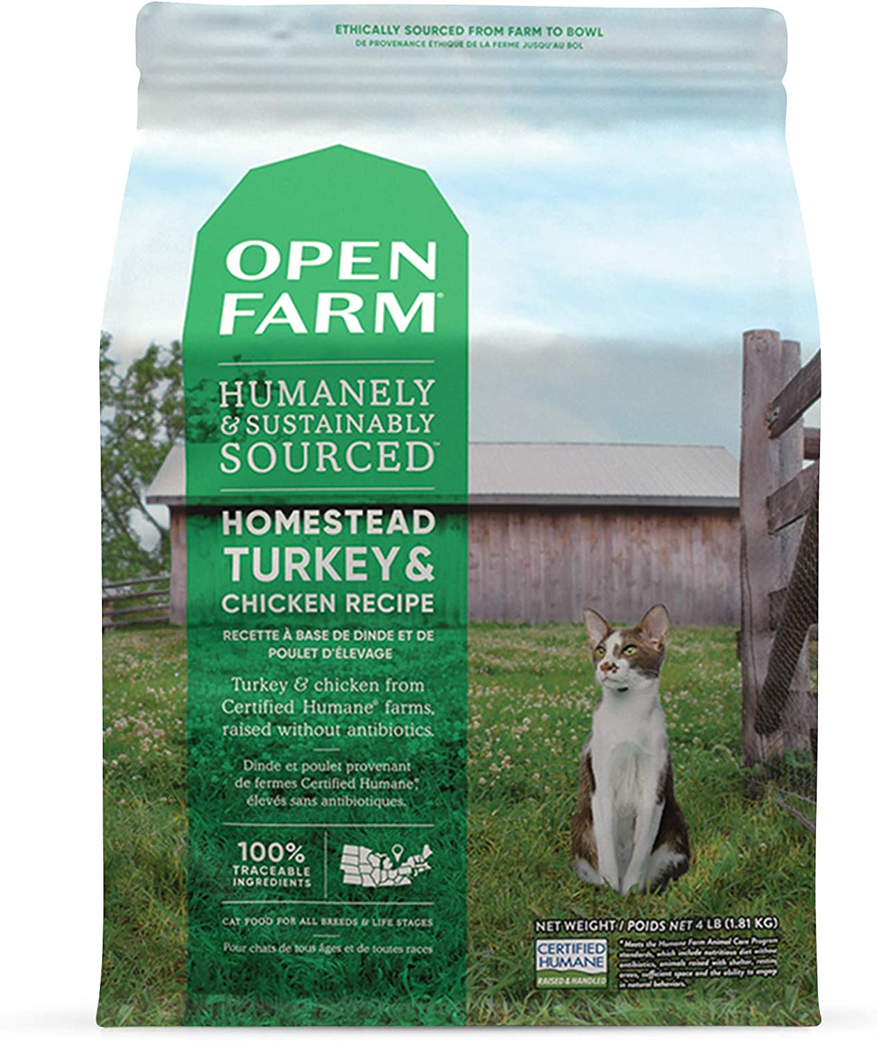 Open Farm Homestead Turkey & Chicken Grain-Free Dry Cat Food, Wild-Caught Fish Recipe with Non-GMO Superfoods and No Artificial Flavors or Preservatives, 4 lbs