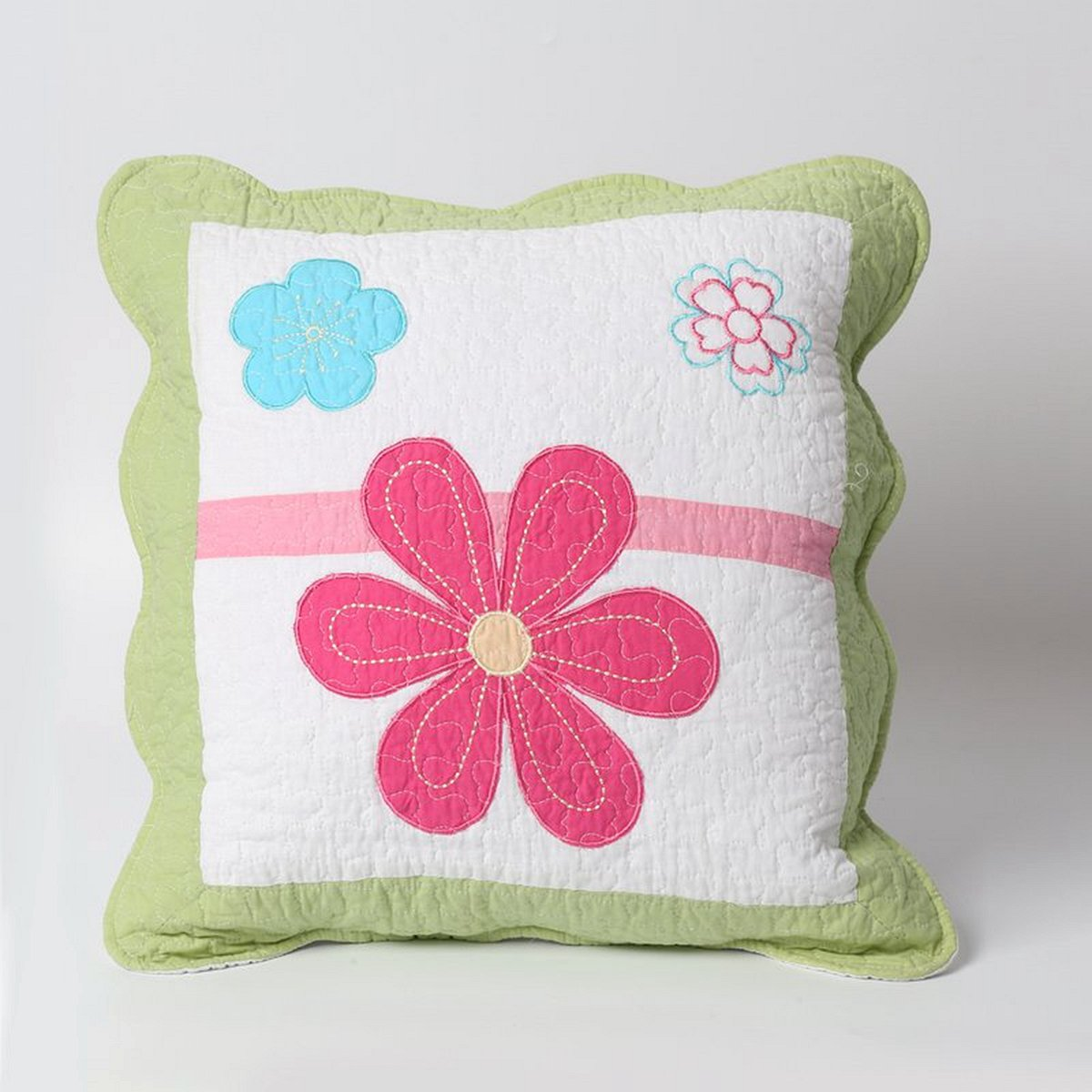 Cozy Line Home Fashions Throw Pillow 16'' x 16'', Pink Flower Embroidered Print Pattern Stuffed Decorative Pillow, 100% COTTON, Gifts for Kids, Girls (Green Flower, Decor Pillow -1pc)