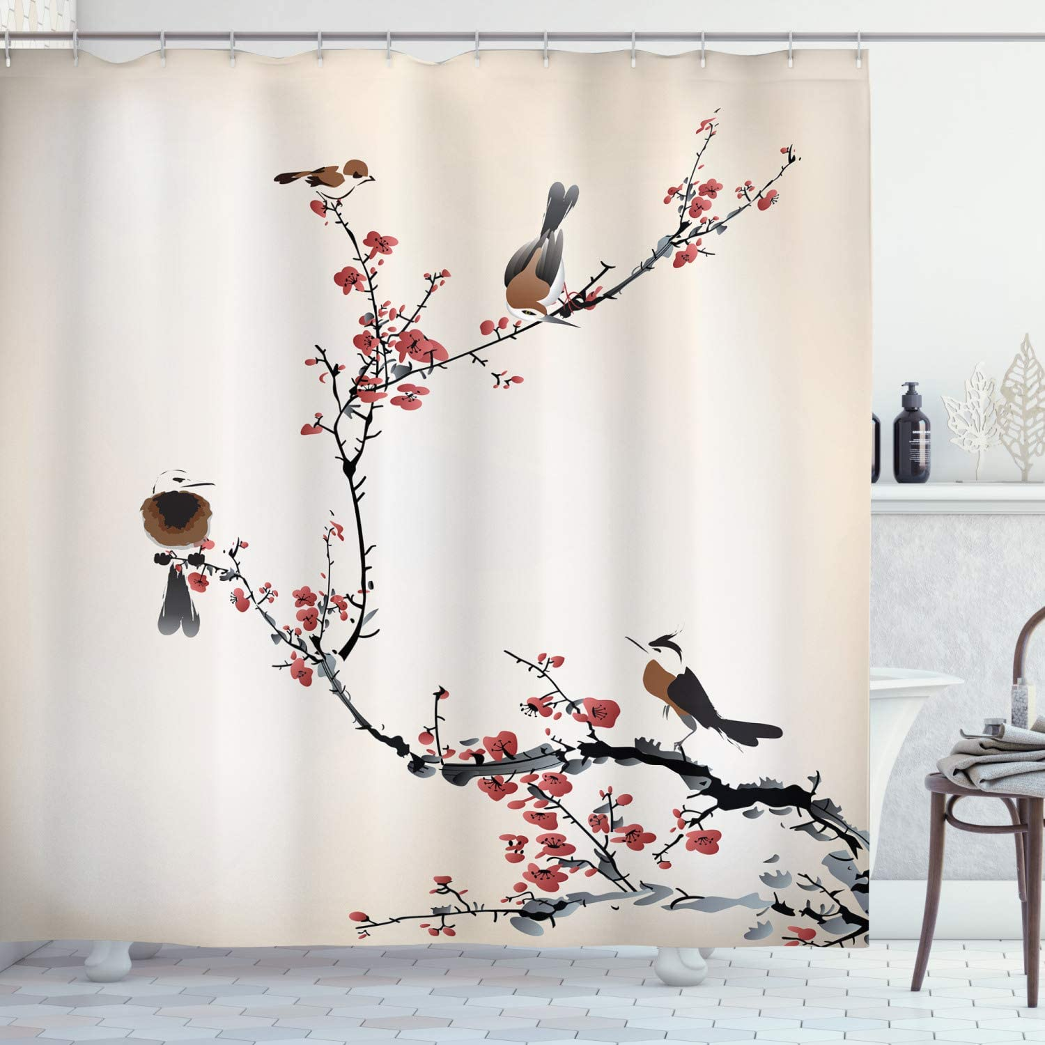 "Ambesonne Nature Shower Curtain, Birds on Cherry Tree Branches Summer Classic Oriental Illustration, Cloth Fabric Bathroom Decor Set with Hooks, 75"" Long, Ruby Caramel"