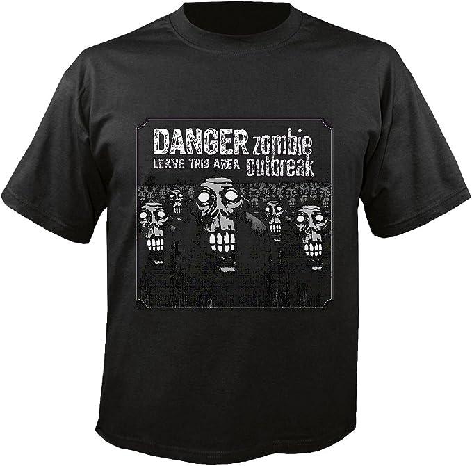 T-Shirt Camiseta Remera Peligro DE Permiso THISAREA del Brote del Zombi Motorista Camiseta Zombi Que Camina Club de la Motocicleta Muerto Gothic Interruptor Dixon Camisa de la Banda in Negro: Amazon.es: Ropa