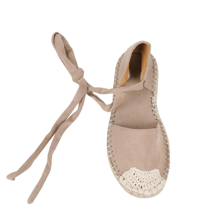 A-khaki Syktkmx Womens Espadrilles Lace Up Flat Platform Ankle Strap Wrap Summer D'Orsay Sandals