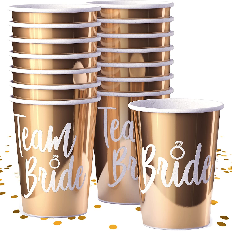 Bachelorette Party Decorations & Favors - Bridal Shower Gift Supplies & Decor Set - Bachelorette Party Cups in Metallic Gold for Bride & Team Bride Bridesmaids, 15 Pack