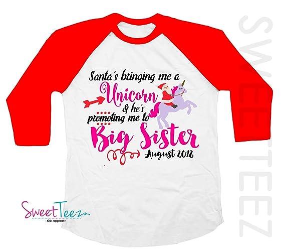 490e4be8 Amazon.com: Big Sister Shirt Christmas Shirt Funny Personalized Due Date  for Winter Holidays Pregnancy Announcement Red Raglan Shirt Unicorn Girl:  Handmade
