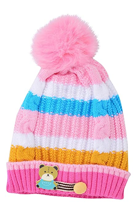 05f789807aae6 Baby Bucket €œTEDDY€ Premium Quality Light Weight Winter Special Woolen    Fur Material Baby Cap (Pink)  Amazon.in  Clothing   Accessories