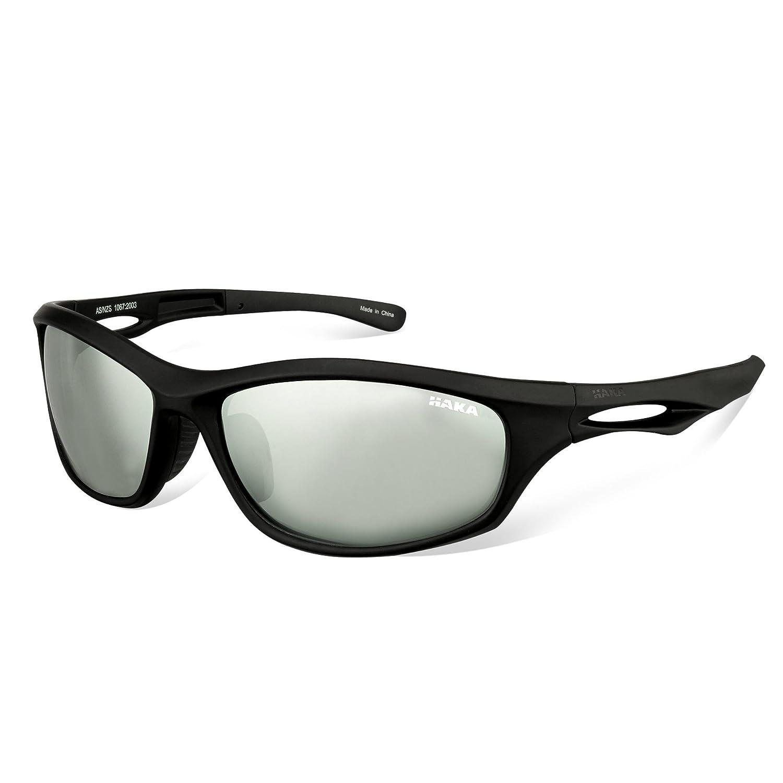 b13df4188f6 Amazon.com   HAKA Sports Style Polarized Sunglasses for Driving Fishing  Golf Running Baseball Cycling Glasses (Black