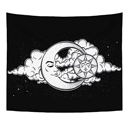 Jewh Polyester Tapestry Mandala Bohemia Wall Hanging - Animal Moon Wolf Guns Yoga Mats Beach Towel